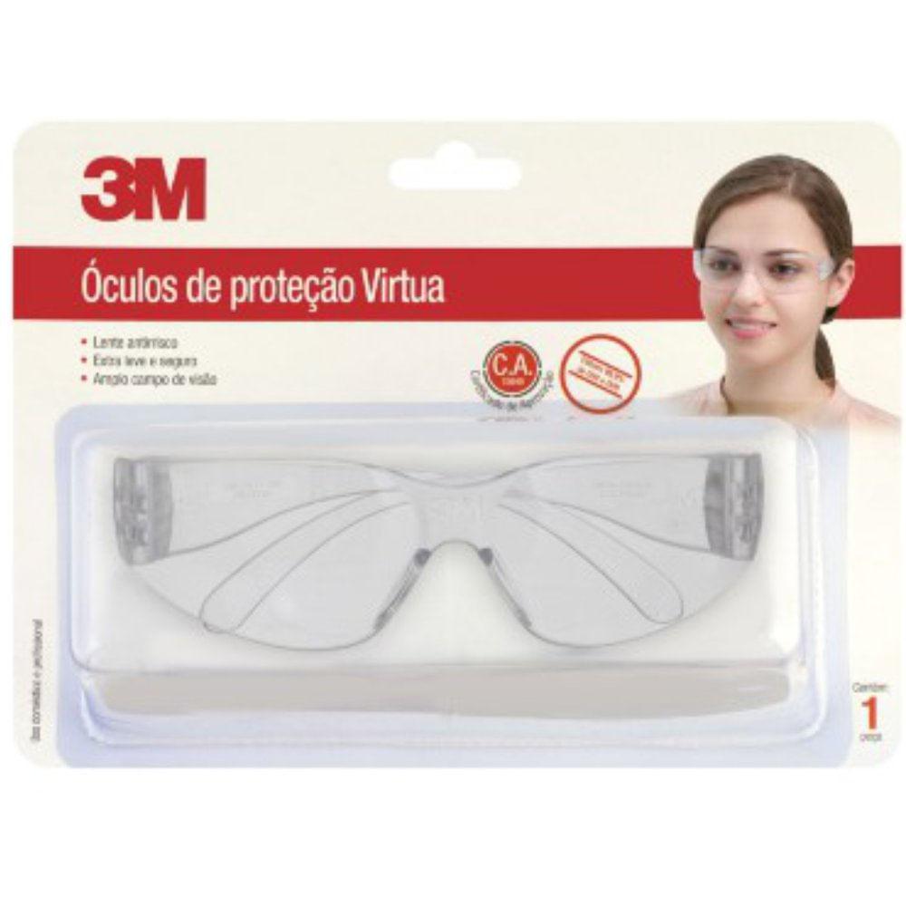 Óculos de Proteção Virtua Incolor com Tratamento Antirrisco Hastes e Lentes  em Policarbonato CA 15649 - 3M 2ace676fdc