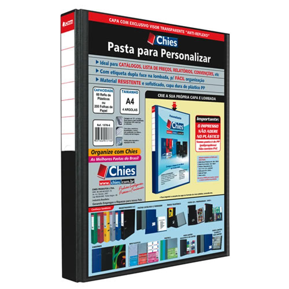 Pasta Catálogo para Personalizar (Fichário) com Visor Transparente - Vazio,  A4 Lombada 4cm c 4 Argolas 25D cor Preta 8dbb2a664e