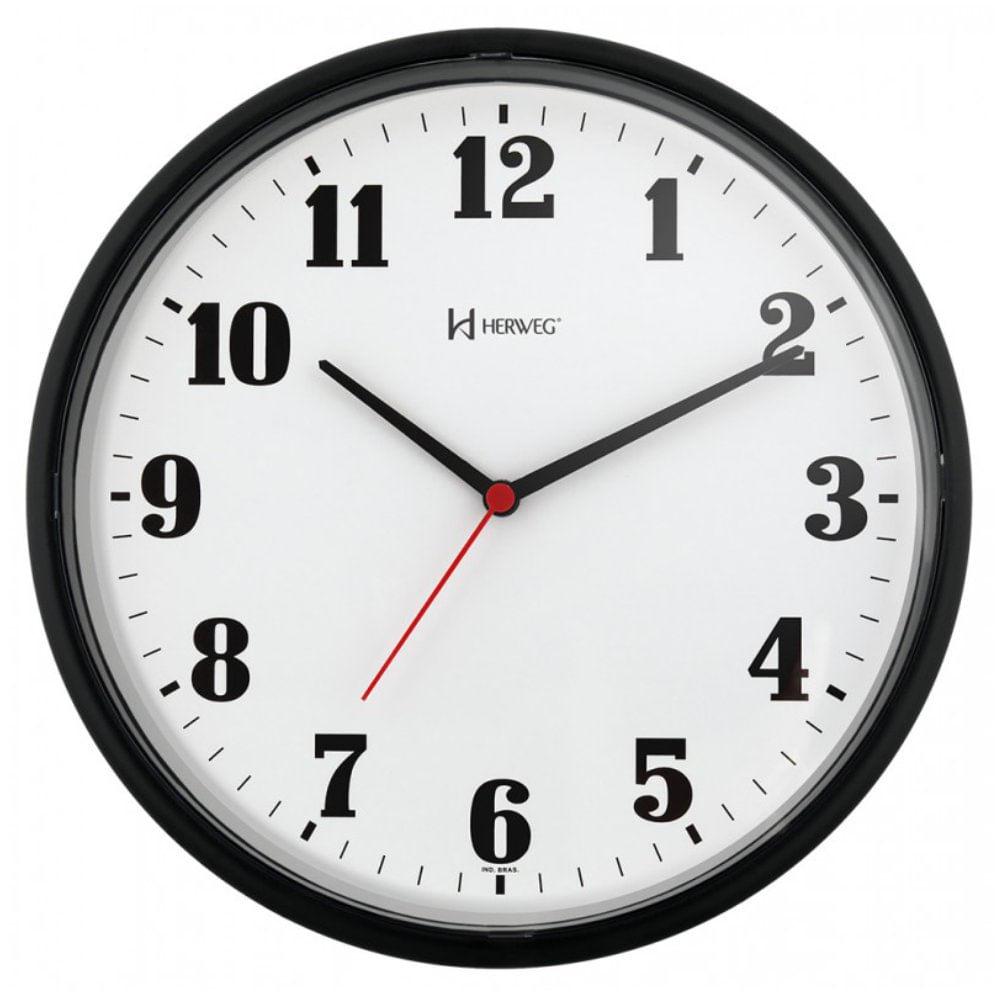 52e524f8c77 Relógio de Parede 26cm Plástico cor Preto Ref. 6126-34 Herweg ...
