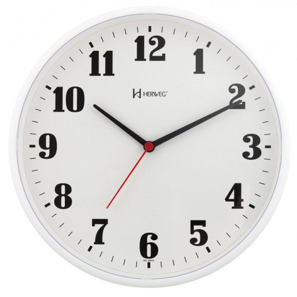 fa73af9ef97 Relógio de Parede 26cm Plástico cor Branco Ref. 6126-21 Herweg ...